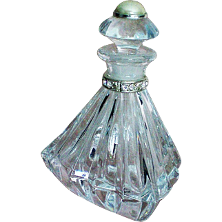 Faceted Czech Republic Pyramid Perfume Bottle with Faux Pearl Stopper