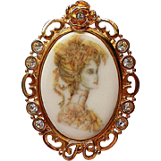 Porcelain Portrait Framed Brooch by P-Craft