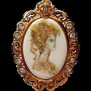 Porcelain Portrait Framed Brooch by P-Craft
