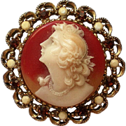 Molded Cameo Portrait Brooch