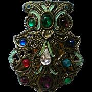 Bejeweled Fur Clip marked NE for New England Glassworks