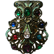 Bejeweled Fur Clip marked NE for New England Glassworks