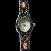Marcasite Cameo Bracelet Wrist Watch by Waltham
