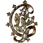 Trifari Marquis, Bagettes and Round Rhinestones Brooch