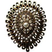 Multi-layered Brass and Faux Pearl with Rhinestone Brooch