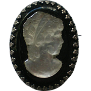 Satin Glass on Onyx Cameo Brooch or Pendant
