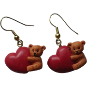 Valentine Teddy Bear Heart Dangle Pierced Earrings
