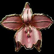 Amazing Pink Enamel Orchid Brooch