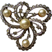 Signed Marvella Rhinestone and Cultured Pearl Brooch