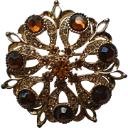 Amber and Golden Brown Rhinestone Brooch