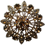 Sparkling Amber Brown Rhinestone Domed Brooch