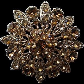 Sparkling Amber Brown Rhinestone Domed Brooch