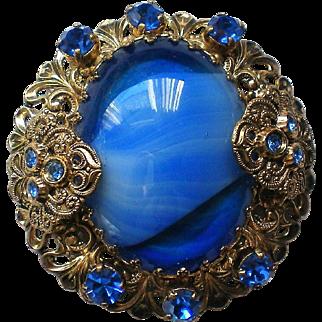 Edwardian Inspired Marble Filigree Cabochon and Rhinestone Brooch
