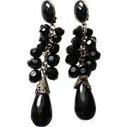 HUGE Black Faceted Glass Dangle Clip Earrings
