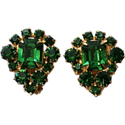 St. Patrick's Emerald Green Rhinestone Clip Earrings