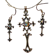 Silver tone Cross Aurora Borales Pendant with Matching Earrings Set