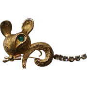 Cute Little Mouse Pin with Articulated Rhinestone Tail
