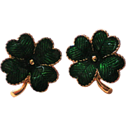 Avon Lucky Clover Shamrock St. Patrick's Day Pierced Earrings in Original Box