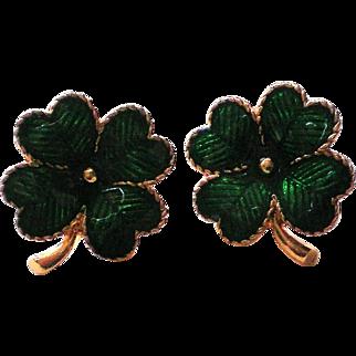 Avon Lucky Clover Shamrock St. Patrick's Day Pierced Earrings in Original Box
