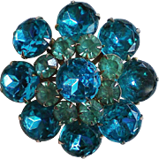 Multi-layered Blue Rhinestone Brooch