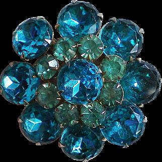 Multi-layered Blue Rhinestone Brooch