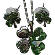 Irish Shamrock Pendant and Pierced Earring Set for St. Patrick's Day