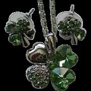 Irish Shamrock Pendant and Pierced Earring Set for St. Patrick's Day