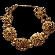 Gold Tone Metal Link Slider Bracelet