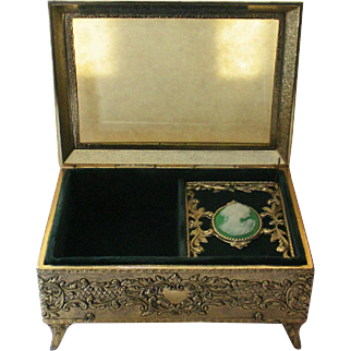 Trinket / Jewelry / Vanity Music Box with Framed Cameo Portrait