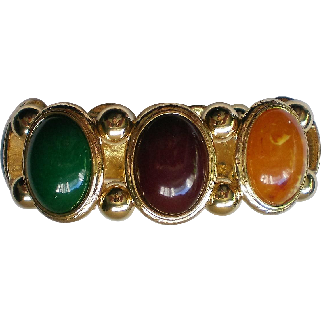 Chunky Multi Colored Oval Cabochon Link Bracelet From