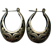 Silver tone Filigree Pierced Earring Hoops