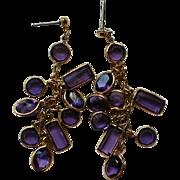 Amethyst Caged Crystal Dangle Earrings