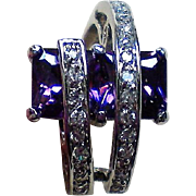 Amethyst Crystal Emerald Cut Banded Ring