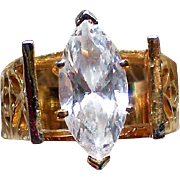 Marquise Cut Solitaire Crystal Statement Ring