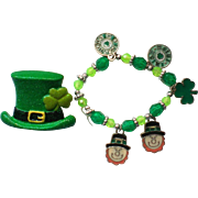 St. Patrick's Day Shamrock Leprecon Bracelet and Hat Pin Set