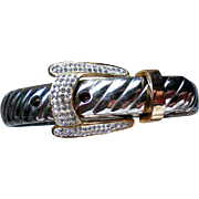 Belt Buckle Bracelet with Silver & Gold tone Metal