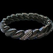 Black Metal Rhinestone Bangle Bracelet