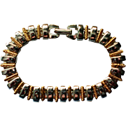 Napier Silver and Gold tone Metal Bar Link Bracelet