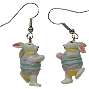 Ceramic Easter Bunny Dangle Earrings