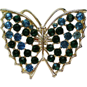 Blue Rhinestone Butterfly Pin