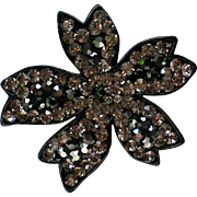 Black and Clear Rhinestone Floral Brooch