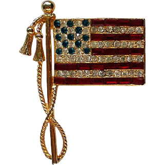 Beautiful American Flag Pin with Baguette Stones