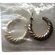 Avon Sterling Silver Fluted Hoop Earrings