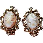 Florenza Carved Shell Cameo Clip Earrings