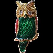 Large Enameled Owl Pin