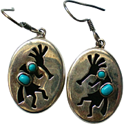 Sterling Silver Kokopelli Turquoise Dangle Earrings
