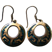Mexican Aztec Sterling Silver Turquoise Disc Earrings