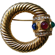 Givenchy Gold Tone Brooch with Colorful Cabochons