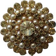 Glitzy Rhinestone and Cultured Pearl Brooch