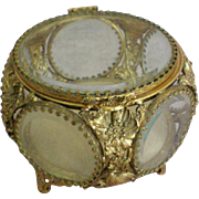 Five Sided Beveled Glass Ormolu Filigree Jewelry Dresser Box or Casket
